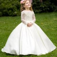 classic toddler junior girls ivory long sleevess satin sheer top lace girls wedding birthday party dresses flower girl dresses