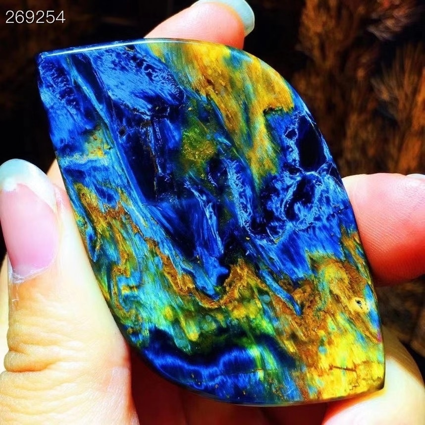 Yellow Natural Blue Pietersite Rectangle Pendant Women Men 63.2x33.4x11mm Pietersite Namibia Necklace Jewelry AAAAAA
