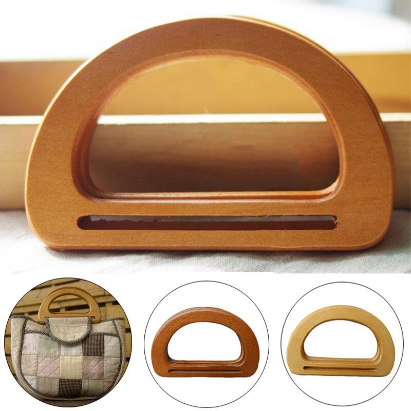 1 pieza de reemplazo natural de la manija de la bolsa de ratán de madera para la fabricación DIY del bolso de mano redondo en forma de D