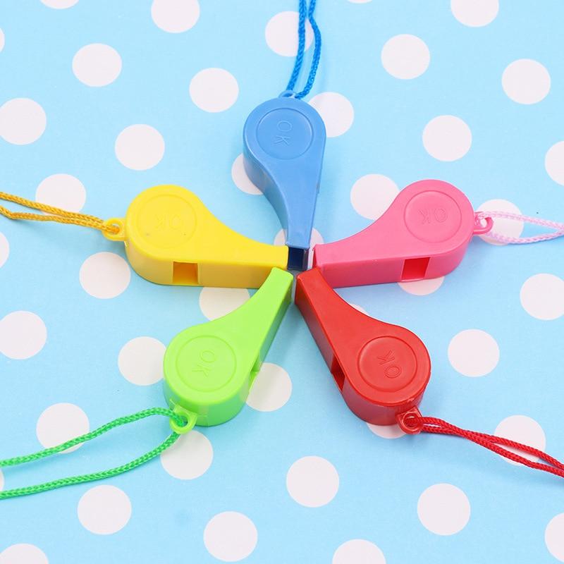 5 шт. Спортивные товары случайного цвета пластиковый свисток детская игрушка цветной свисток арбитр свисток для фанатов розыгрыш веселые и...