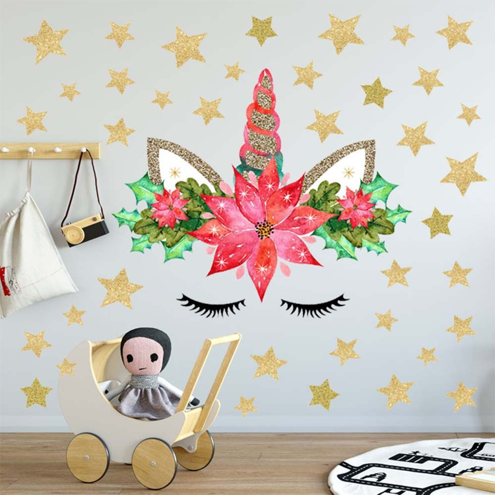 Pegatinas de pestañas de pared decoración de habitación de unicornio para habitación de niños PVC pegatina de pared niño niña regalo de Navidad para niños accesorio de habitación HM0140