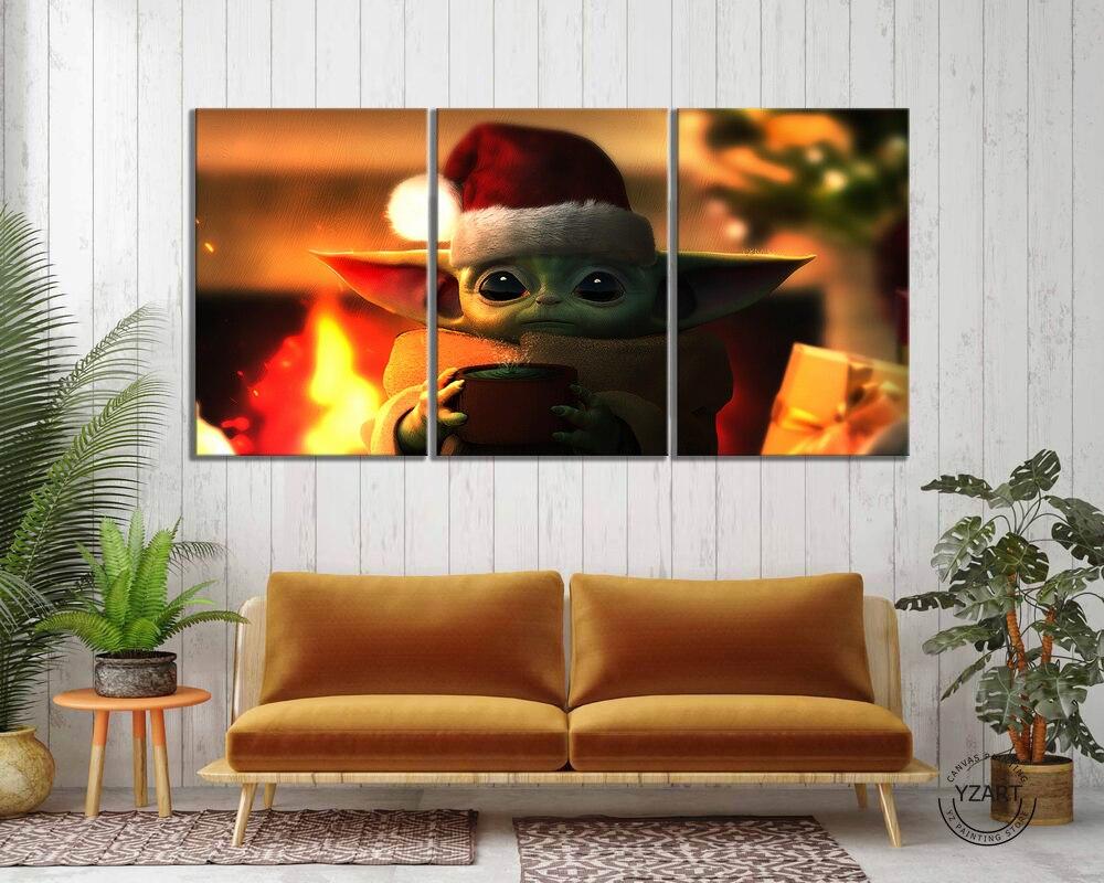 3 pçs bebê yoda mandalorian filme poster quadros em tela star wars arte da parede decoração casa