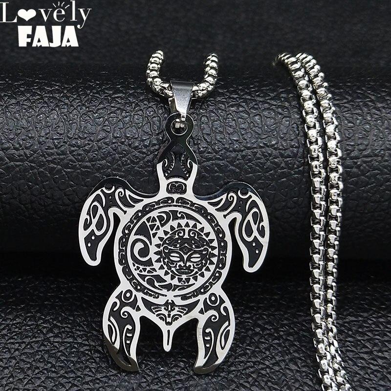 Sol e lua aço inoxidável turtle colar para homens cor prata colares jóias presente de natal cadena hombre n3234s03