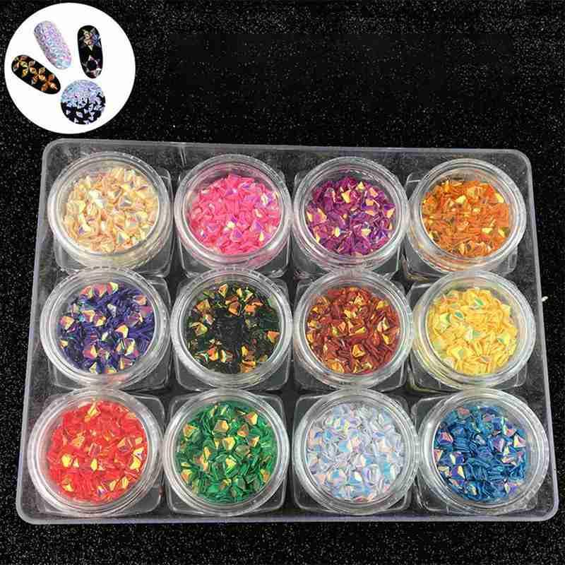 1 Box Chameleon Ab Color Nail Sequins Triangle Rhombus Paillette Glitter Flakes Colorful Decoration 3D Nail Manicure Art G8Y6