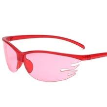 2021 Fashion Semi-Rimless Flame Shape Sunglasses Women Retro Candy Color Eyewear Men Outdoor Sports