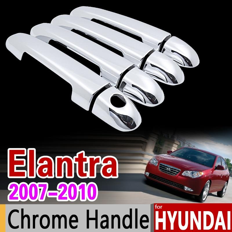 Para Hyundai Elantra 2007-2010 HD cubierta de manija cromada set de molduras 2008 2009 Elantra azul Avante accesorios pegatina coche estilo