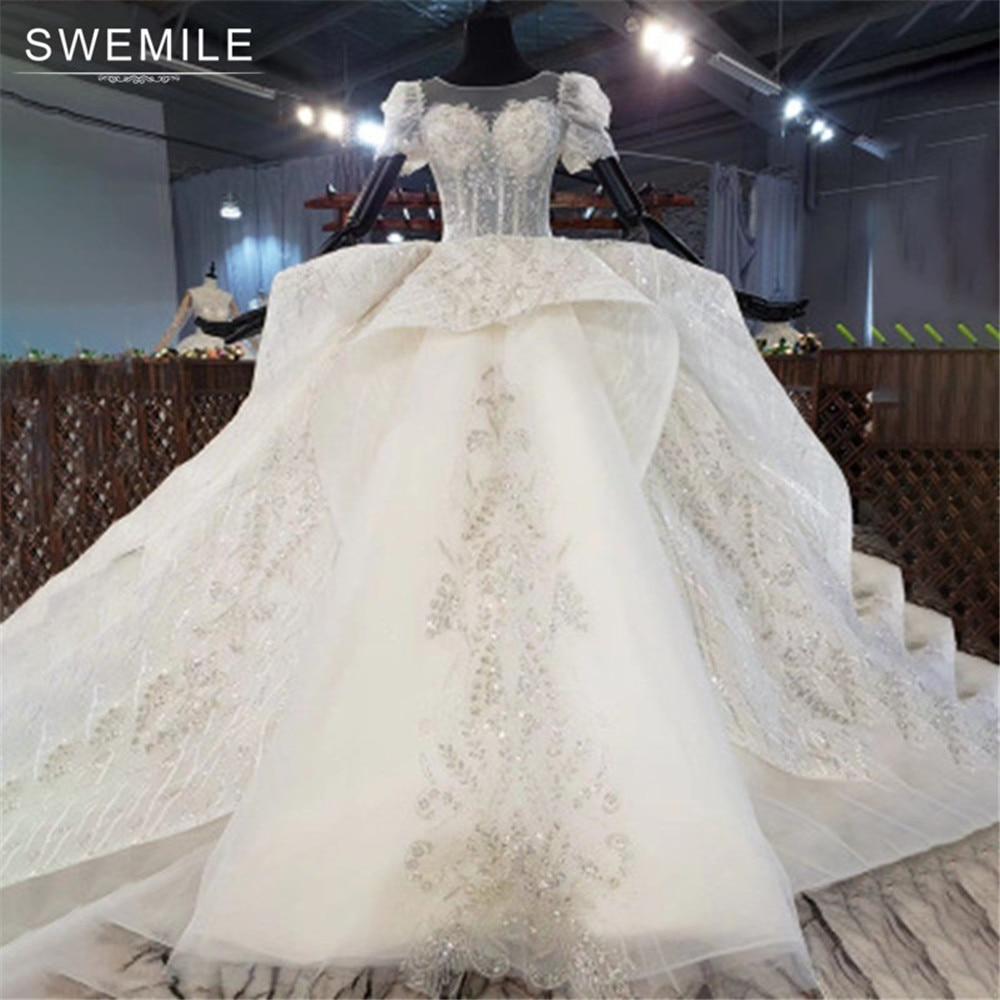 SWEMILE-فستان زفاف كامل من الدانتيل ، فستان ملكي فاخر ، قطار 2021 متر ، كرة عاجية ، 1.5