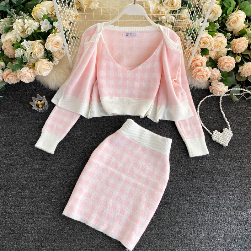 Korean Sweet Knit Plaid Cardigans + Camisole + Skirts 3pcs Sets Girls Short Sweater Coat + Vest + Mini Skirt Suits Women Outfits