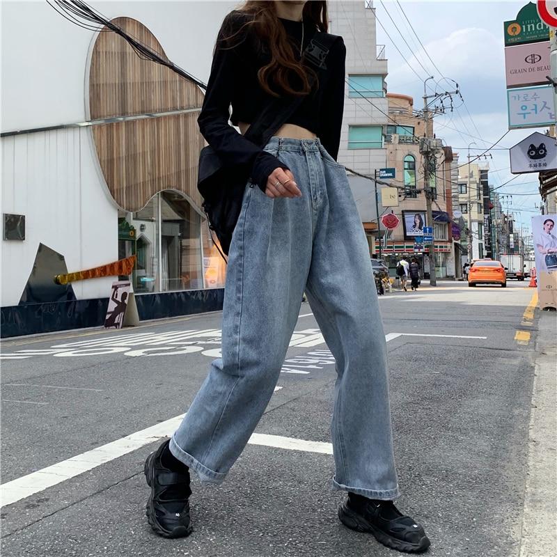 Women high waist Jeans for Women Full Length Denim Pants blue wide Leg  Loose Pencil Trousers Korean Streetwear Denim Pants