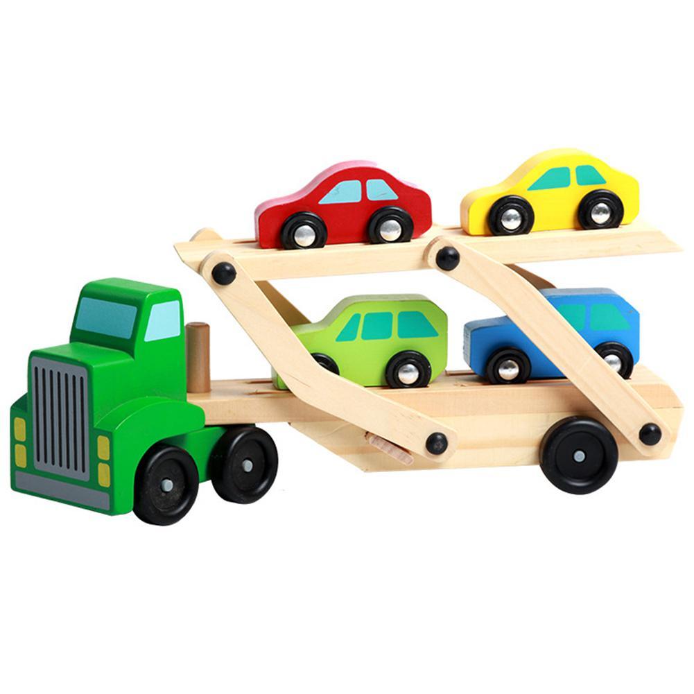 Niños de madera grande de doble cubierta de transporte vehículo modelo de coche de juguete para cargar Mini coches