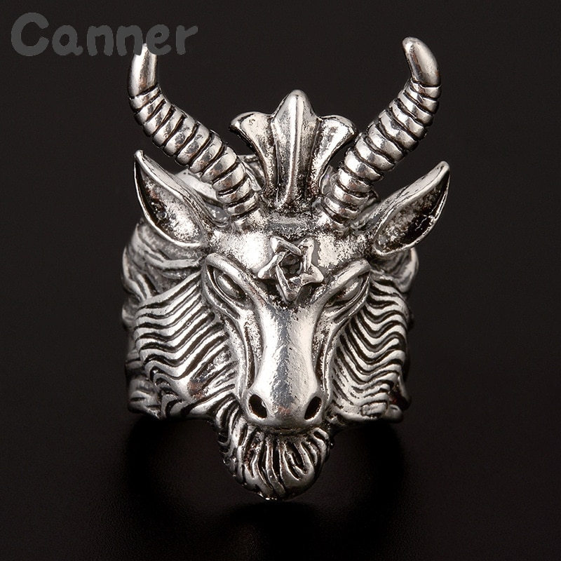 Anillos con cabeza de cuerno de oveja Satan cabra negra para hombres, Baphomet de religión a Satán, Aries, estrella del zodiaco Wicca, Punk Rock, Animal, anillo para hombre, joyería