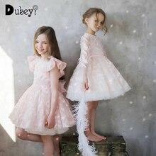 Feder Spitze Prinzessin Kleid Elegante Blume Mädchen Prinzessin Kostüme Baby Mädchen Hochzeit Geburtstag Party Kleid für 2 Bis 8 Jahre alt