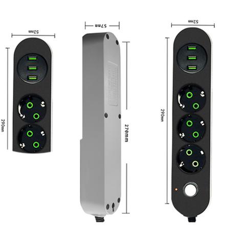 Toma de tablero de energía USB HIFI 2 enchufes EU 3 enchufes 3 puertos USB 1,8 m extensión de cable adaptador de corriente universal
