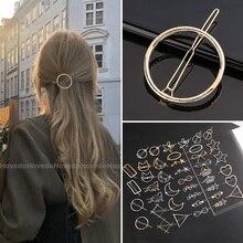 Fermaglio per capelli geometrico in metallo Chic Barrette a triangolo tondo Barrette a forcina Barrette artigli per capelli donna ragazze moda accessori per capelli regali