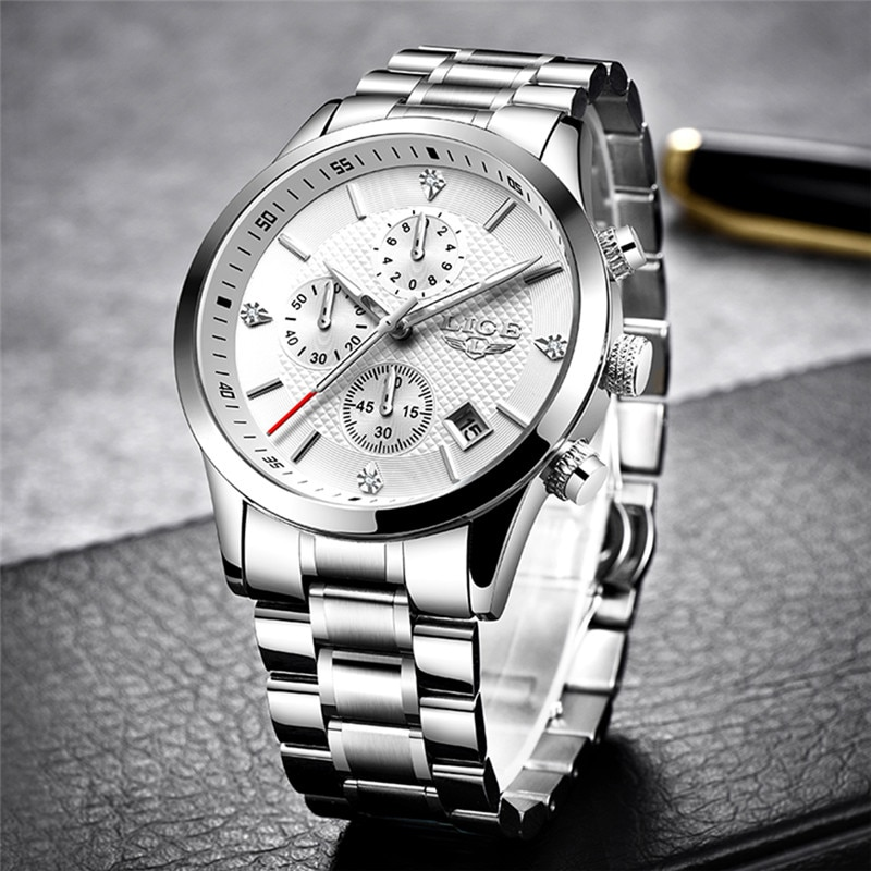 2017 new loreo chronograph waterproof auto date wrist watch top luxury brand stainless steel luminous diver male automatic clock Mens Watches 2020 LIGE Top Luxury Brand Sport Quartz Watch Men Chronograph Waterproof Wrist Watch Man Stainless Steel Date Clock