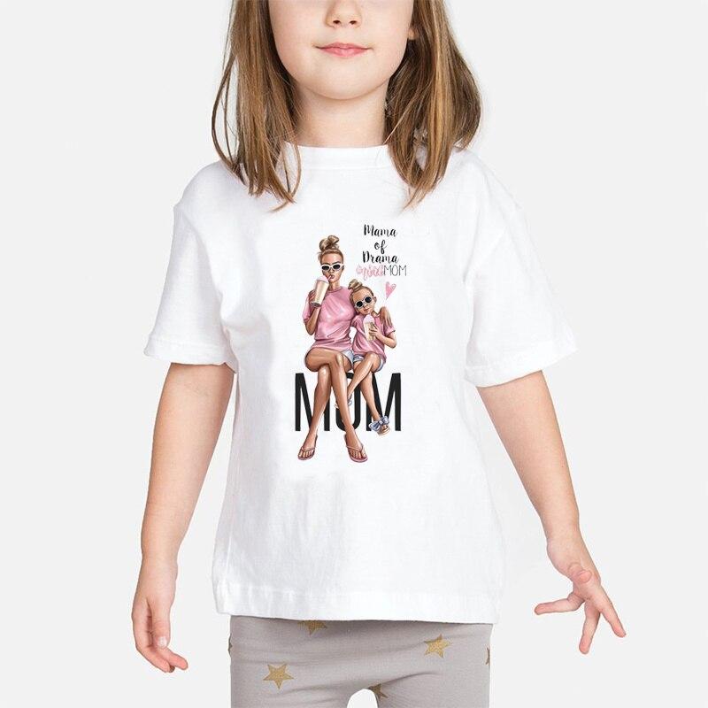 Super mamá bebé niñas camiseta de la madre y el bebé amor vida Vogue estampado Kawaii camisetas mamá amor blanco niños ropa de niño Tops