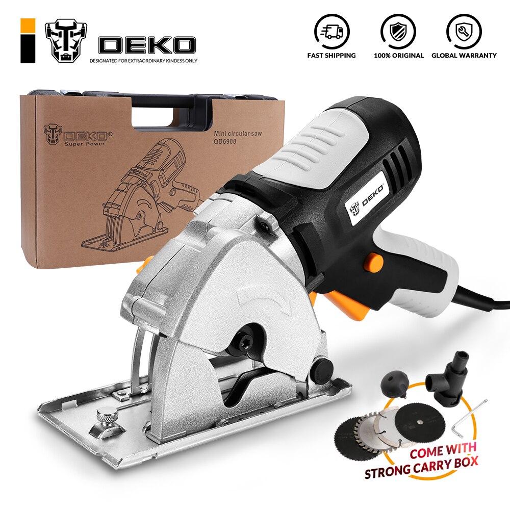DEKO-منشار دائري صغير بمقبض ، 4 شفرات ، صندوق BMC ، نظام أمان شخصي وكهربائي