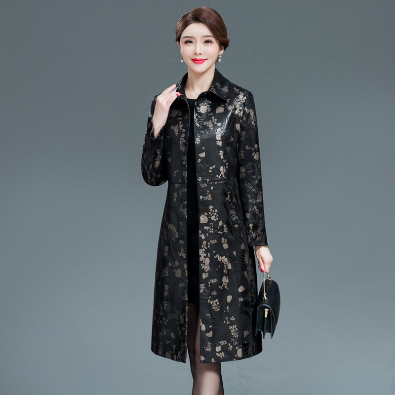 Women Black Faux Leather Jacket New Middle-aged Ladies Retro Floral Printed Pu Leather Windbreaker Coats Female Clothing 6XL enlarge