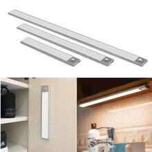 USB Rechargeable 23/40cm PIR Motion Sensor LED Under Cabinet Light Wardrobe Closet Night Light For Kitchen Wall Lamps