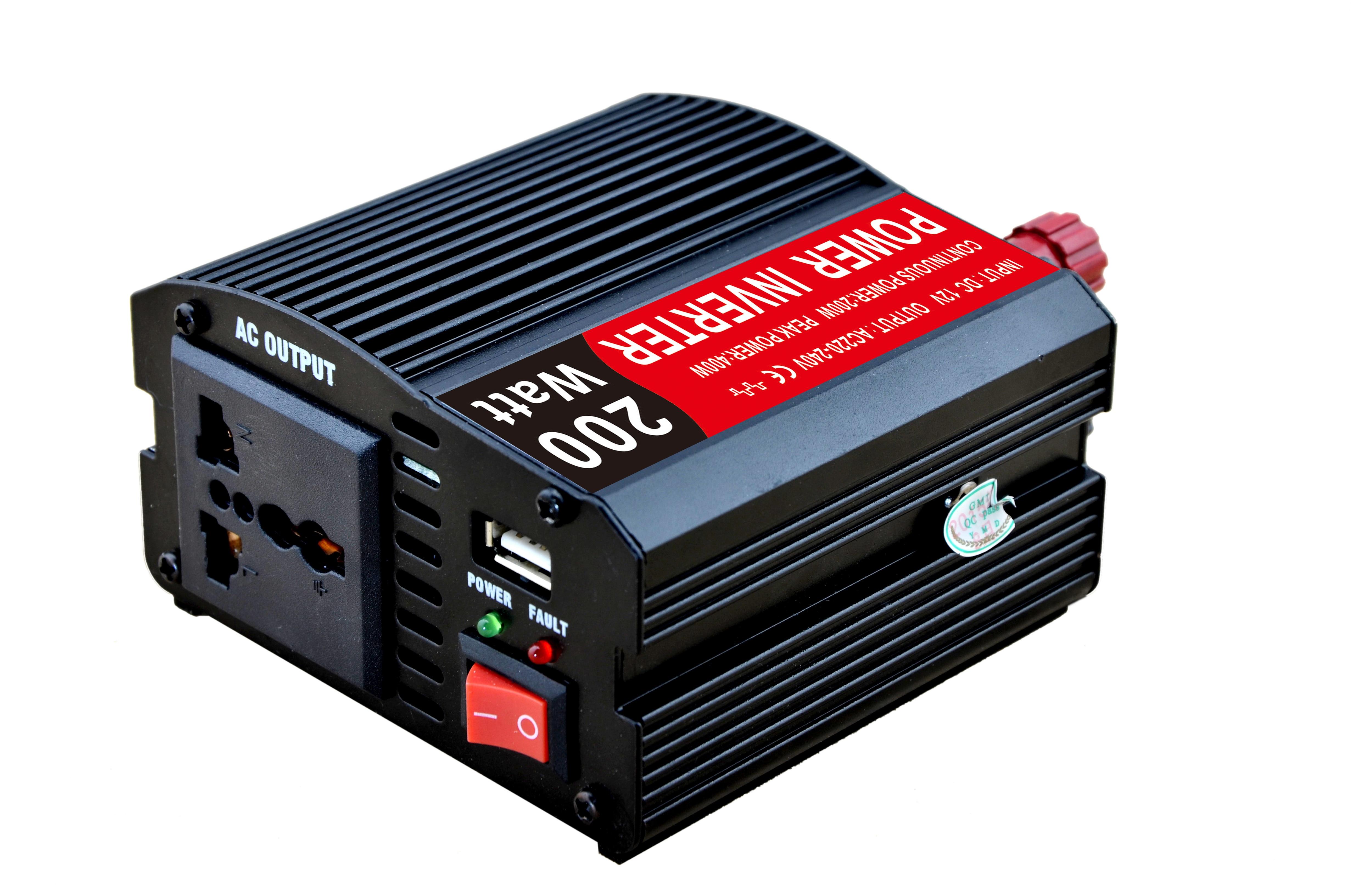 محول طاقة للسيارة 200 وات ، جودة عالية ، من 12 فولت إلى 220 فولت ، مع حزمة نفطة