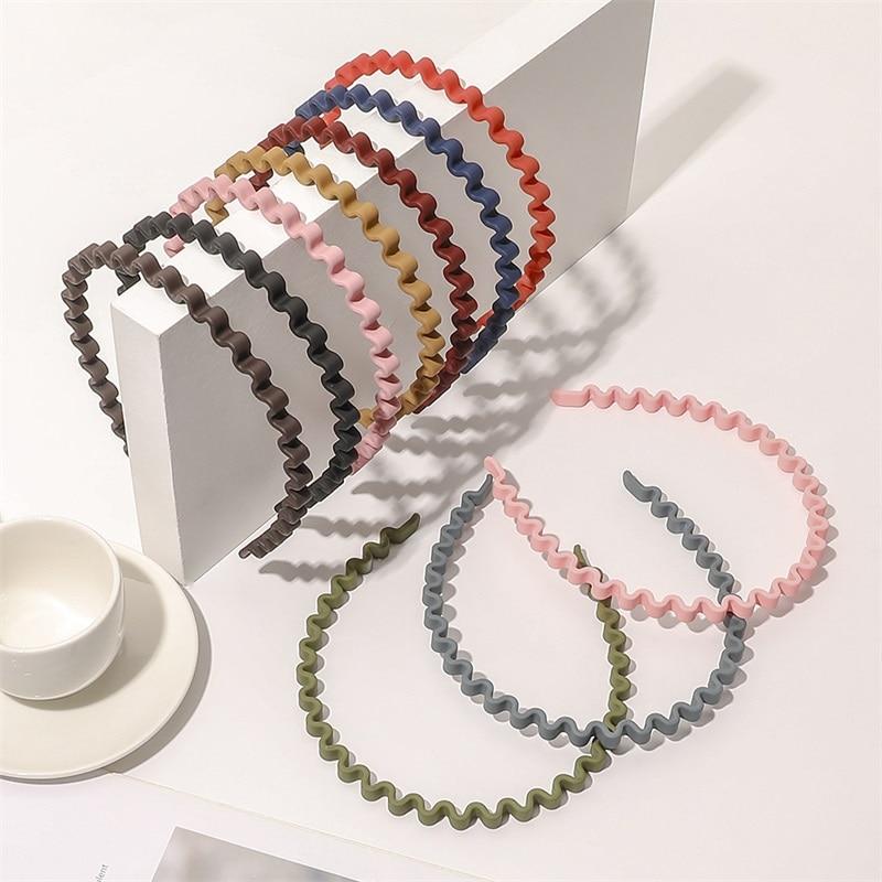 Korean Headband Woman Hair Hoop Colorful Candy Colors Narrow Side Waves Bezel Hair Band Hair Accessories Hairbands 2021 New