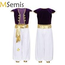 MSemis bambini ragazzi fantasia principe arabo costumi Cap maniche gilet con pantaloni per Halloween Cosplay fata feste vestire