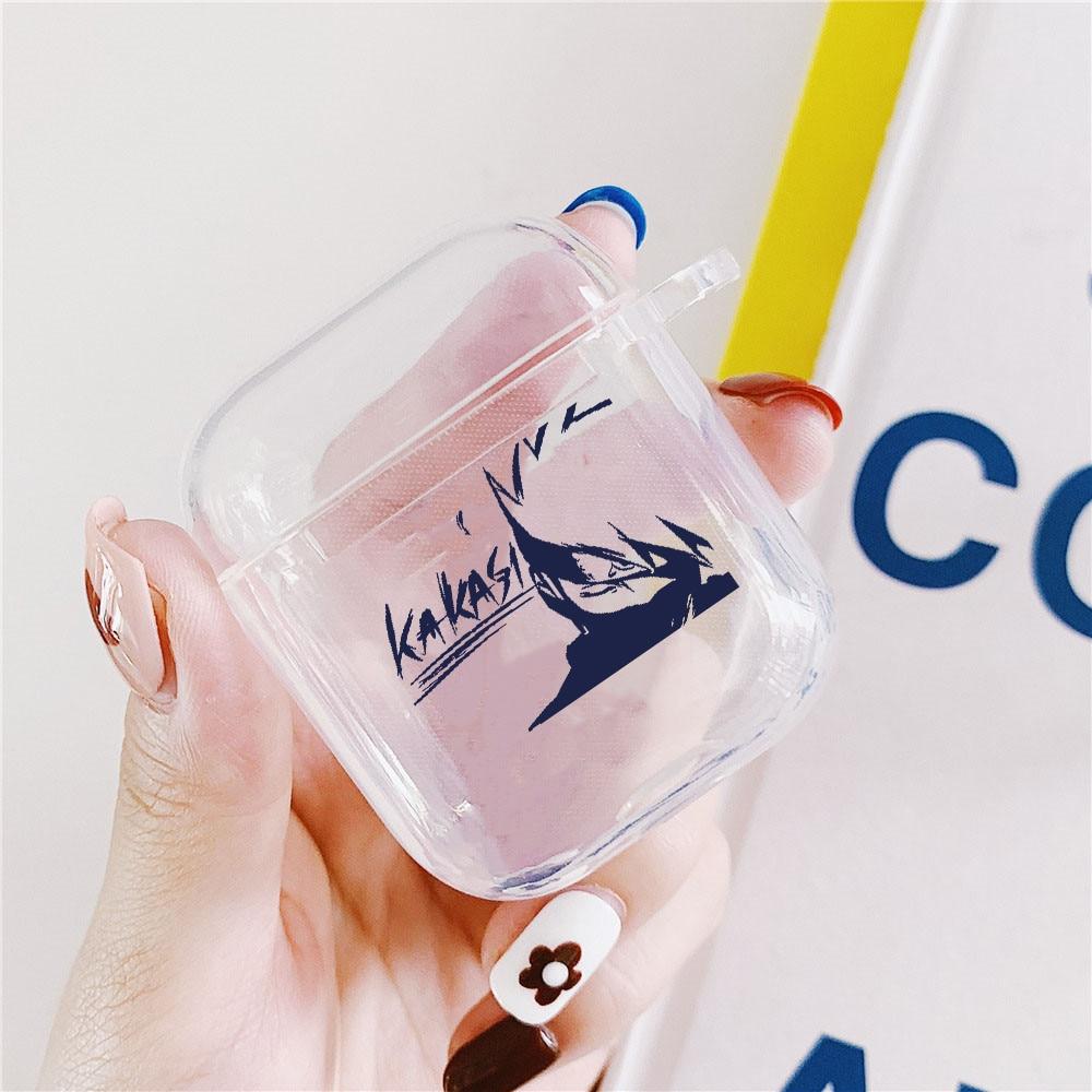 Funda transparente de silicona con dibujos animados de Naruto para auriculares Apple Airpods caja de carga para AirPods funda protectora accesorio de piel
