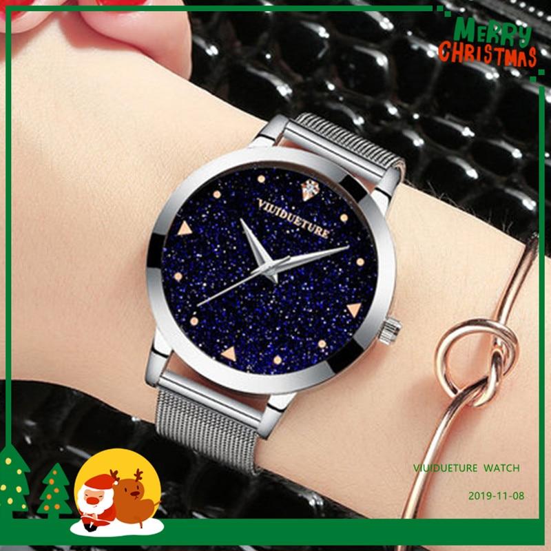 Reloj de oro rosa de lujo, Correa magnética de estrella Simple, reloj de ocio de moda reloj de estudiante impermeable