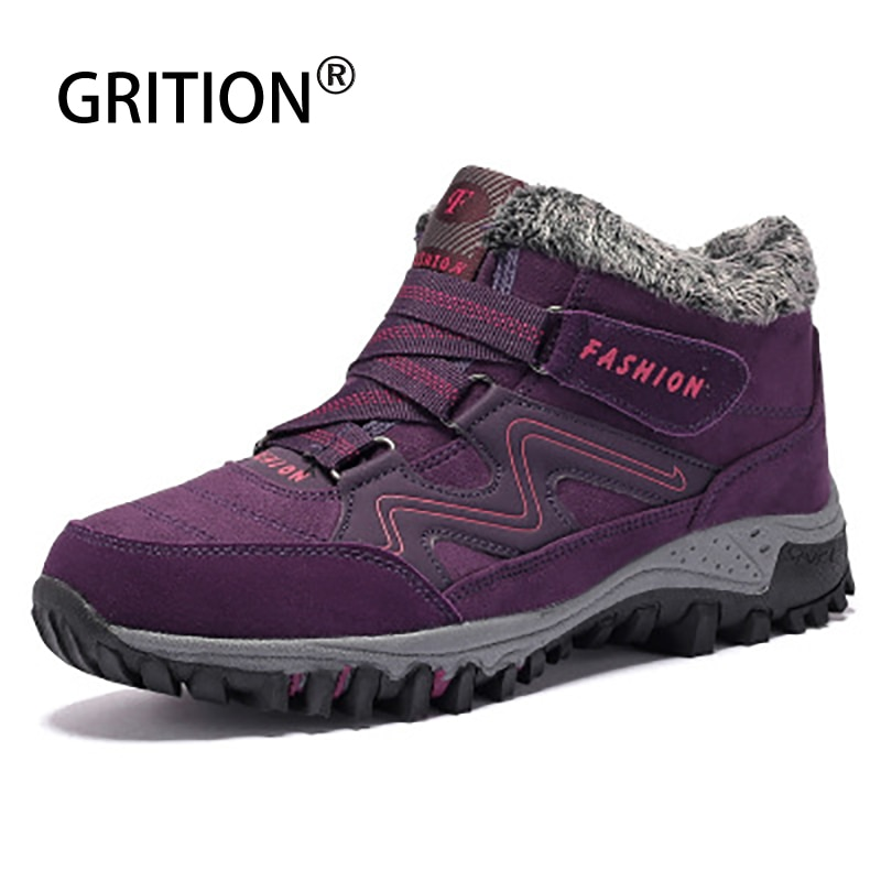 GRITION Womens Hiking Shoes Plush Warm Leisure Couple Sneakers Non-slip High-top Snow Boots Wear Res