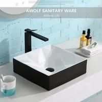 bathroom sinks ceramic vessel art washing basin bowl modern black white geometry design with drain soft hose for lavatory am946