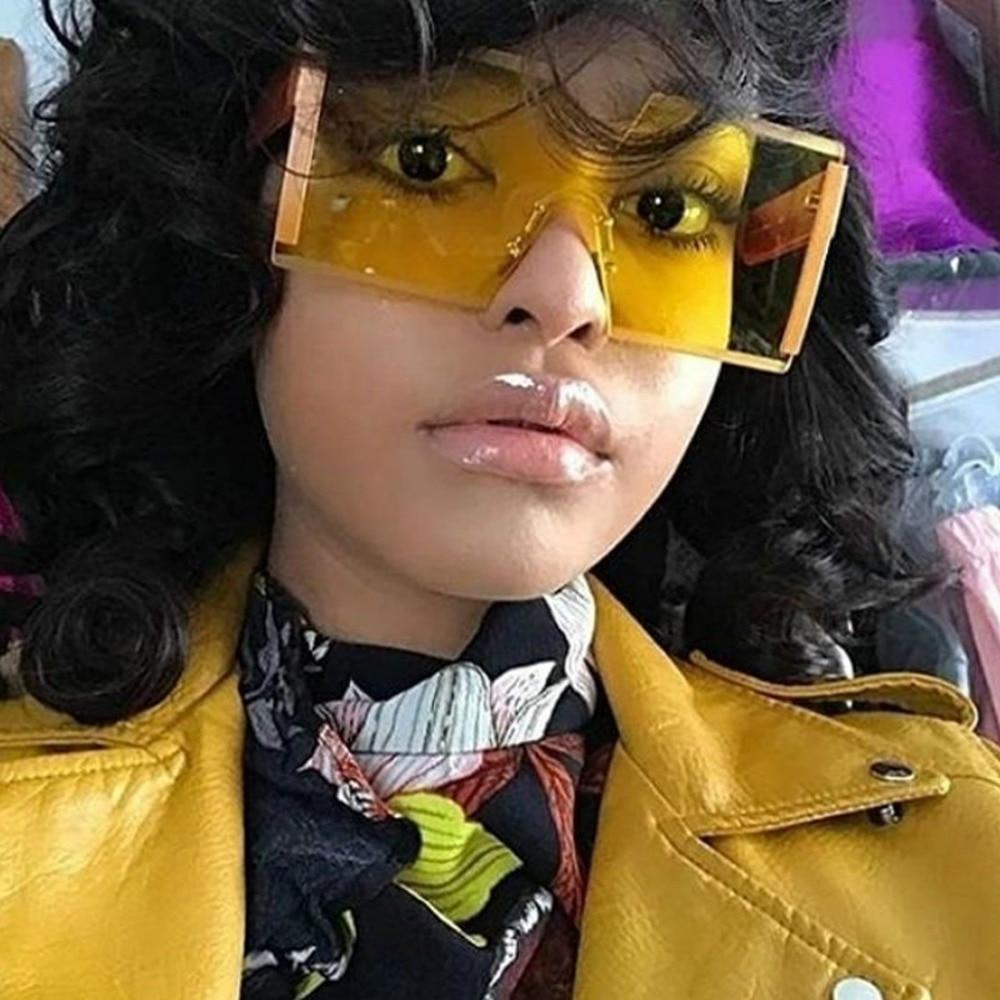 Oversized Square Rimless Sunglasses Fashion Women Brand Designer Flat Top Big Sun Glasses Female One