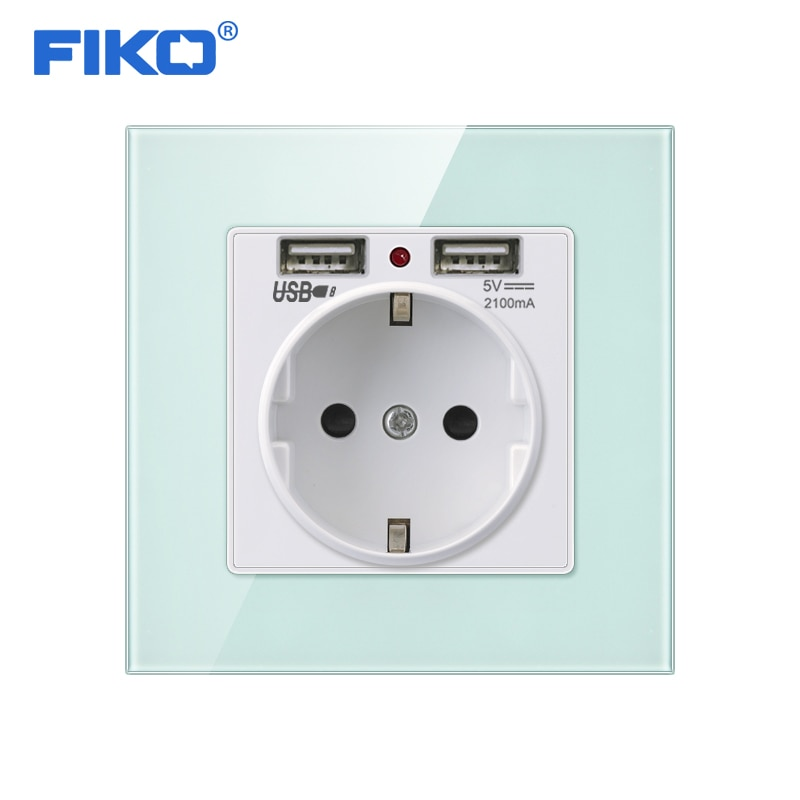 FIKO Grün Rosa Bunte Kristall Glas Panel Dual USB Lade Port 2,1 EINE 16A Russland Spanien Steckdose EU Power outlet