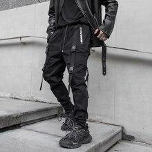 Nouveau côté poches zippées Style sombre rubans Hip Hop hommes Cargo pantalons de survêtement Joggers pantalon mode pleine longueur crayon pantalon