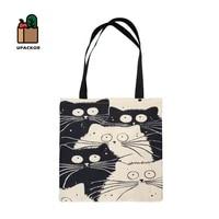 upackor canvas big capacity shopping bag cute cat black and white printing shoulder bag reusable casual tote female handbag