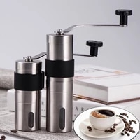 silver manual ceramic coffee grinder stainless steel adjustable coffee bean mill with rubber loop ring easy clean kitchen tools