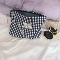 korean plaid cosmetic bag organizer necesserie travel toiletry bag large women cosmetic pouch cotton fabric girl makeup case