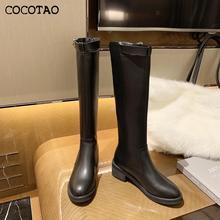 Botas de mujer 2020 nuevas botas de otoño e invierno con cremallera Color sólido moda todo-fósforo cómodas botas de caballero interior