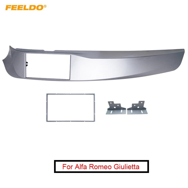 FEELDO coche 2DIN Radio Estéreo ABS Marco de Panel de controles para Alfa Romeo Giulietta(940) rueda izquierda CD/DVD Radio Panel tablero montaje