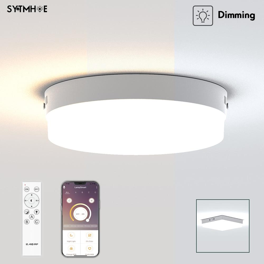 Большой светодиодный потолочный светильник 24 Вт s, современный потолочный светильник 3 цветов с регулировкой яркости, подвесной потолочный ...
