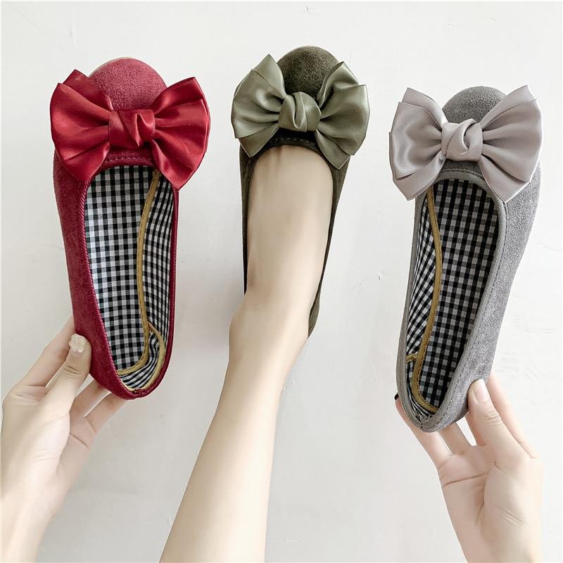 Tallas grandes 35-44 zapatos planos para mujer 2020 nuevos zapatos Nudo de mariposa de Ballet negros mocasines zapatos náuticos para mujer