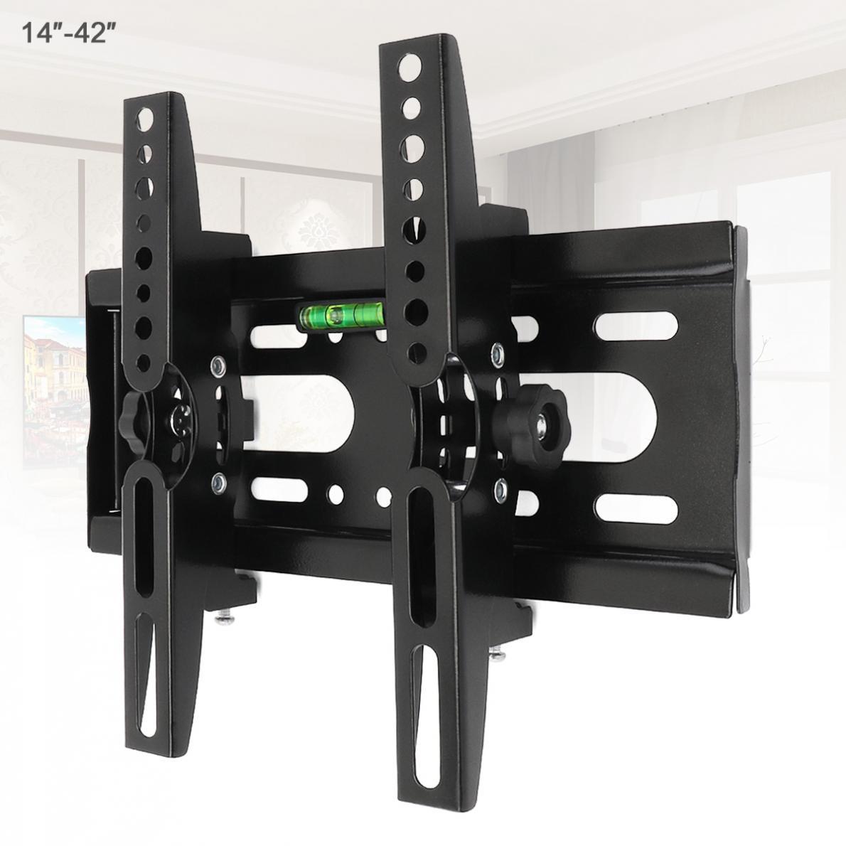 Soporte de montaje en pared Universal para TV, Panel plano de 25KG, soporte de 15 grados de inclinación con nivel para LED LCD de 14 - 42 pulgadas