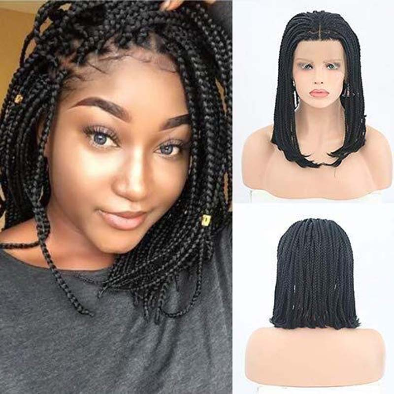 AIMEYA Bob Micro Box Short Braids Wigs for black Women Middle Part Synthetic Lace Front Wigs High Temperature Hair Braided Wig