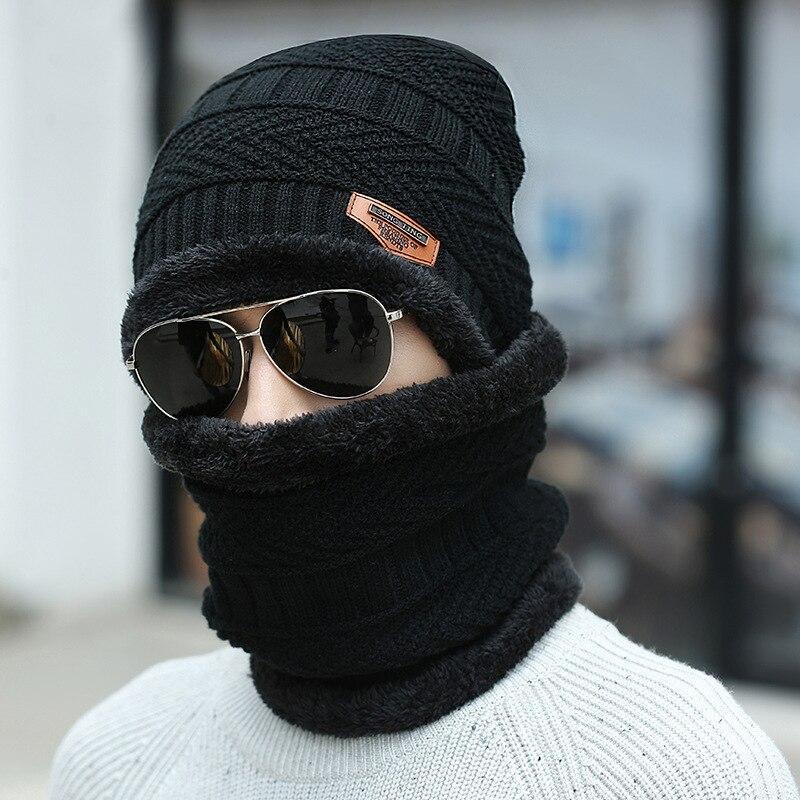 Зимняя шапка шарф для мужчин мальчиков теплая мягкая вязаная шапка шарф набор бархатные шапки шарфы для женщин мужчин