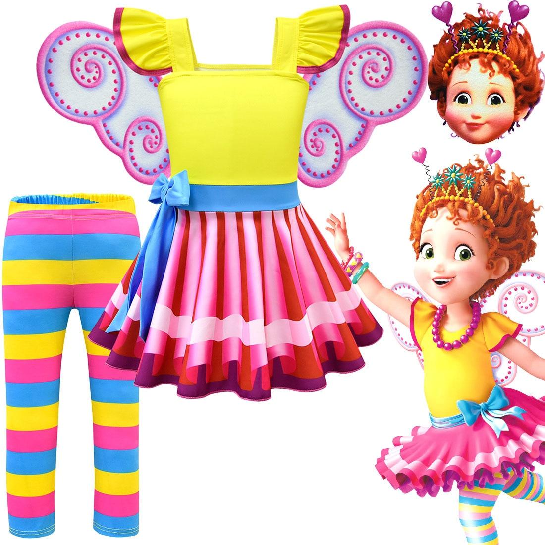 Meninas Fantasia Nancy Vestido Novo Vestido de Verão As Crianças Vestidos de Festa de Aniversário Da Criança Traje Cosplay T shirt Calças Asas Roupas Máscara