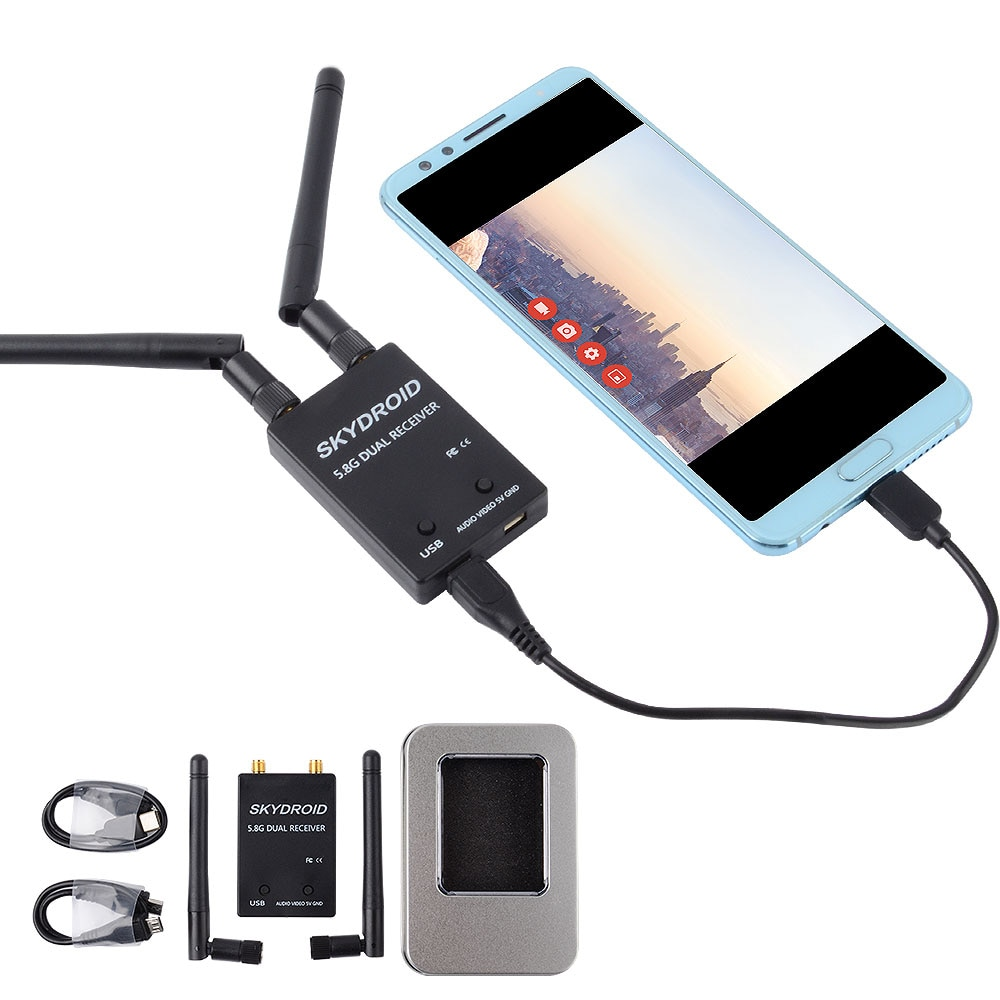 Skydroid 5.8G UVC Dual Antenna 150CH Audio FPV Receiver for Android Mobile Phone Tablet Smartphone Transmitter RC FPV Receiver skyzone fpv t600 5 8ghz 600mw transmitter