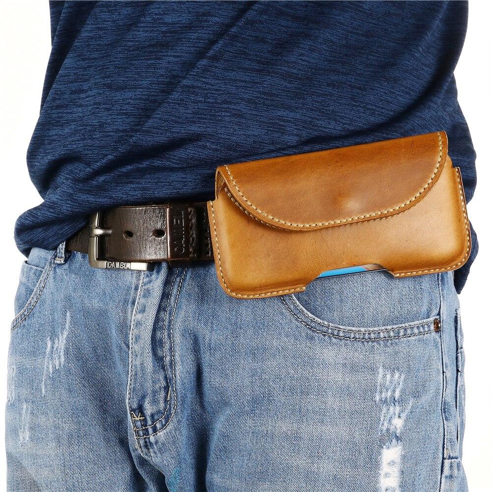 آيفون 11 SE2 XR XS 6 7 8 زائد الرجال جلد طبيعي حقيبة الهاتف آيفون 12 برو ماكس حالة الهاتف الخليوي حزام كليب غطاء الحافظة