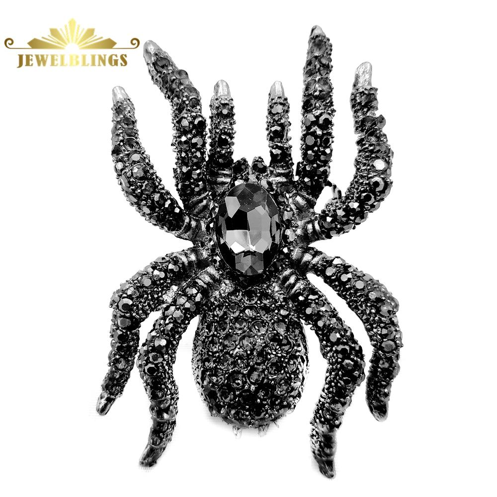 Vintage declaración 10-patas grandes broches con forma de araña tono plateado Pave Black Crystal Oversize Pin de araña joyería de insectos peligrosos