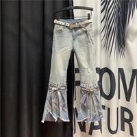 high waist worn jeans female 2020 spring new model irregular beaded heavy craft bell bottom pants streetwear jeans woman