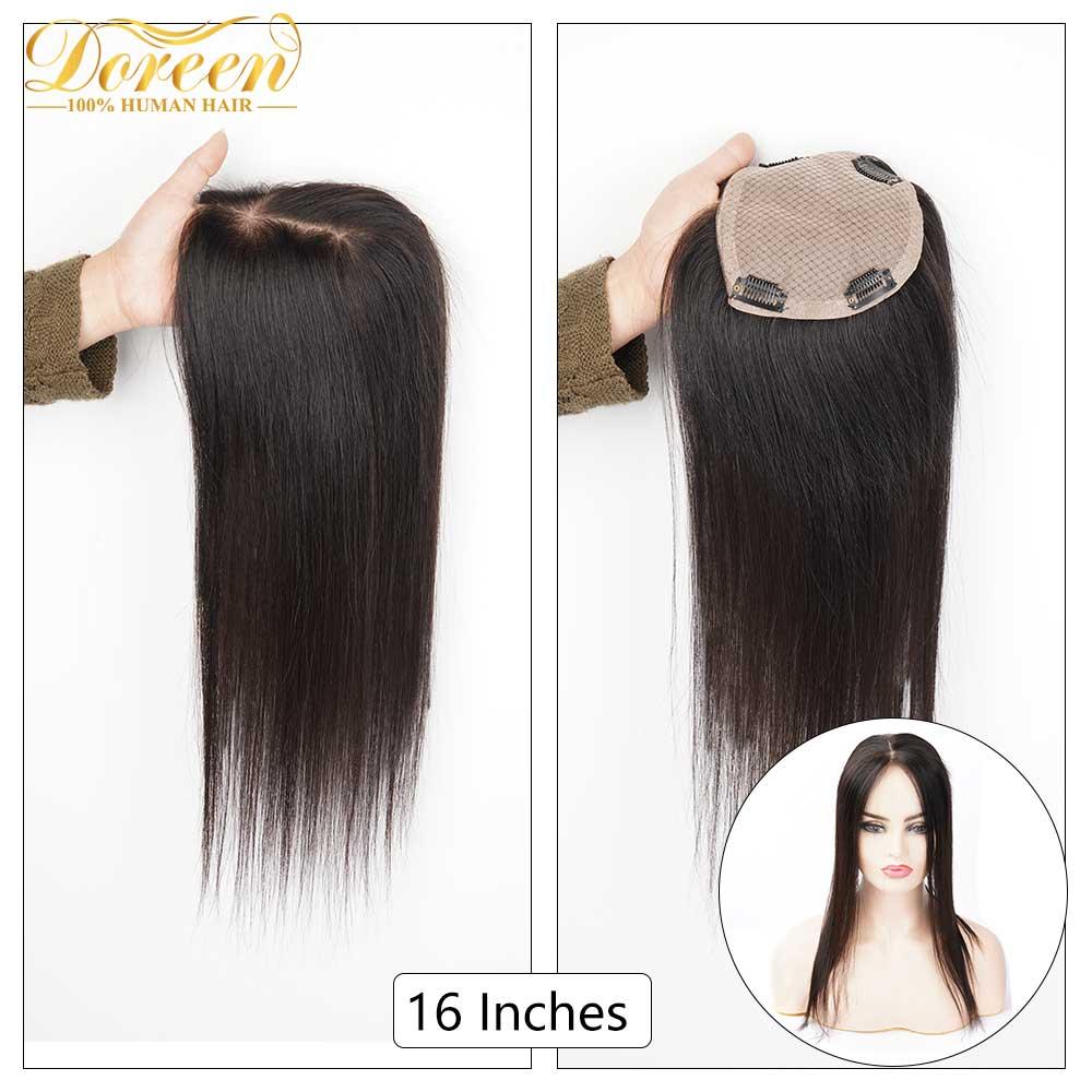 Doreen, Base de seda de 16 pulgadas, tupé para peluquines para mujer, con 4 Clips, 3 capas de encaje, peluca Remy de pelo humano