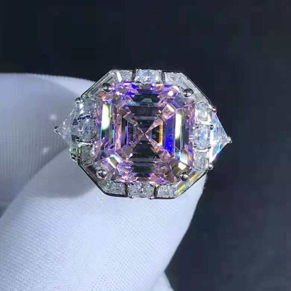 Wong Rain 925 Sterling Silver Asscher Cut 6 CT D Created Moissanite Diamonds Engagement Ring Customized Rings Fine Jewelry Gifts